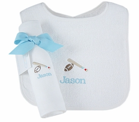 personalized bib and burp cloth set - sports
