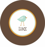 personalized birdie boy plate (style 2p)