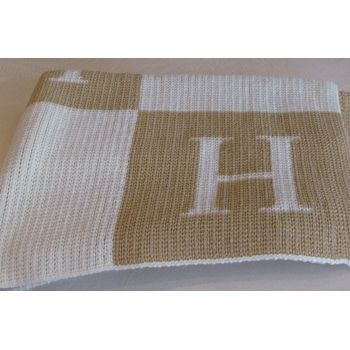 personalized blanket with colorblock initials (full size)