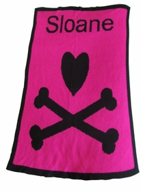 personalized blanket with heart and crossbones