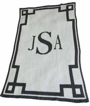 personalized blanket with monogram and scroll