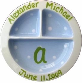 personalized blue and green 3-section plate