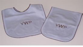 personalized blue/chocolate bib and burp set
