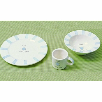 personalized blue little star judaica dish set