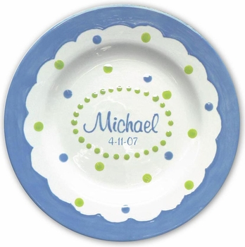 personalized blue mimi mgm 3-section plate