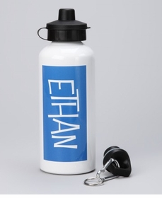 personalized blue name water bottle