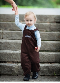 personalized boy's corduroy romper - chocolate