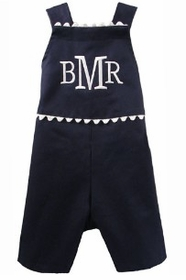 personalized boy's romper-hamptons navy with white ric rac