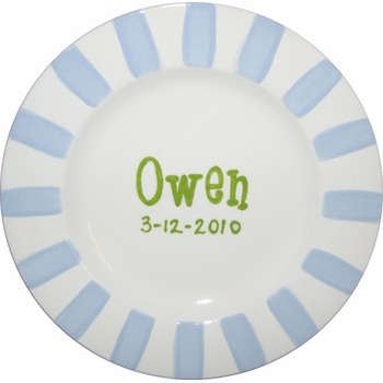 personalized boy striped mgm plate