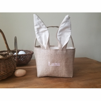 personalized bunny easter basket with bunny ears