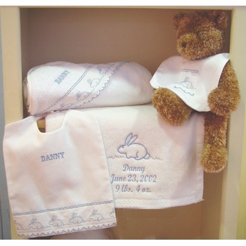 personalized bunny gift set by sweet william