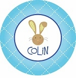 personalized bunny holiday plate (style 1p)