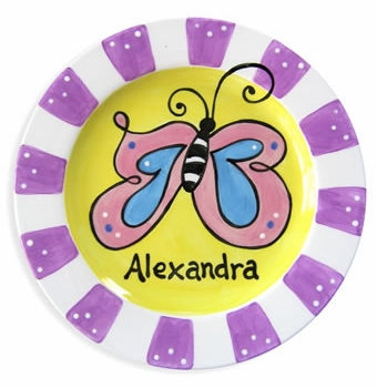 personalized butterfly baby plate