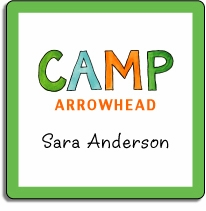 personalized camp square stickers