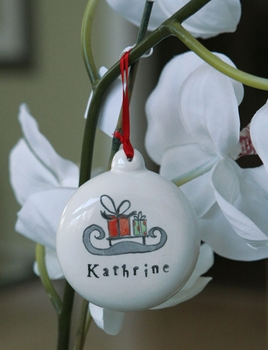 personalized ceramic sled christmas ornament