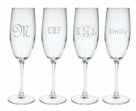 personalized champagne flute set of 4 (glass)