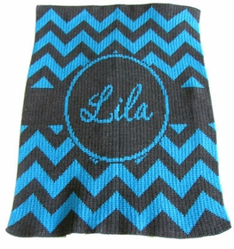 personalized chevron with banner blanket