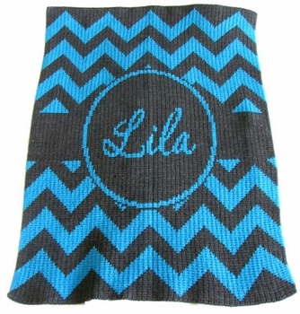 personalized chevron with banner stroller blanket