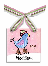 personalized christmas ornament (blue bird)