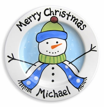 personalized christmas snowman plate (boy)