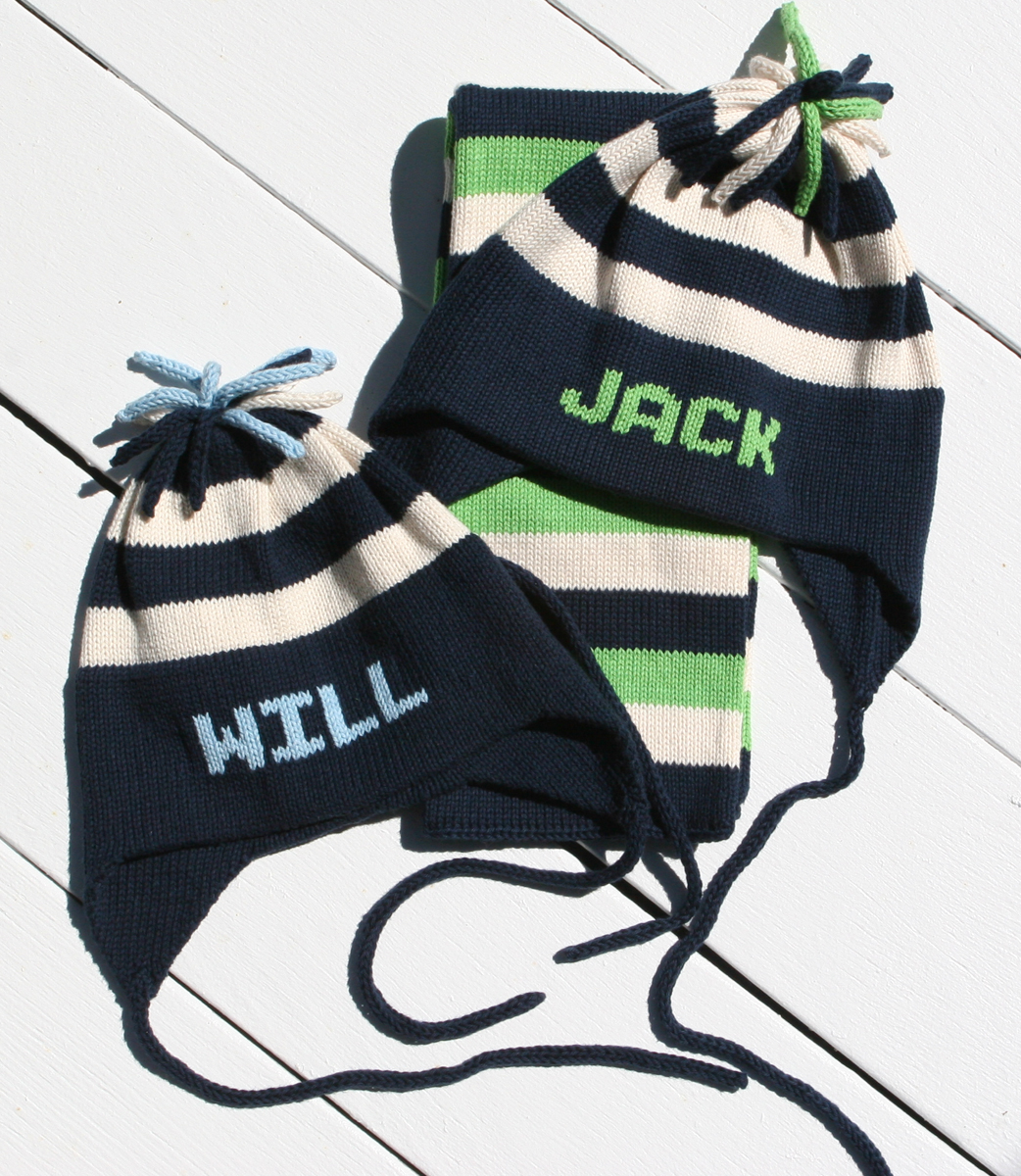 5284421db2b43 personalized cotton earflap hat (stripe) - multiple colors available