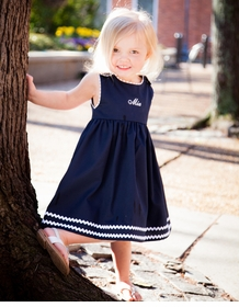 personalized cotton pique dress navy with white