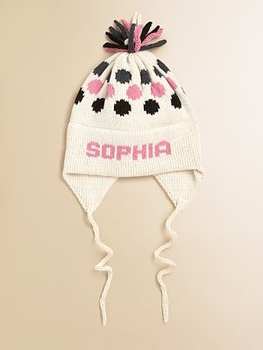 personalized cotton polka dot ear flap hat