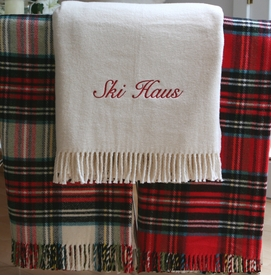 personalized creme holiday throw