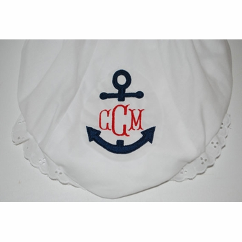 personalized diaper cover with anchor and monogram