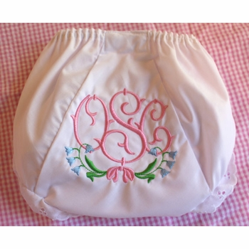 personalized diaper cover with bluebell flowers