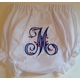personalized diaper cover with single initial and berries in blue