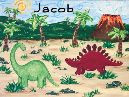 personalized dinosaur wall art - stretched canvas featured at ...