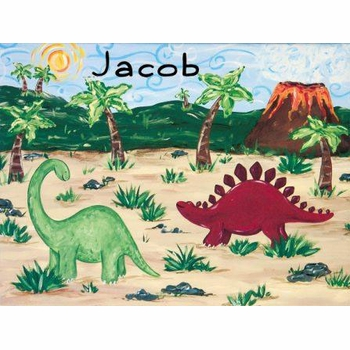 personalized dinosaur wall art - stretched canvas