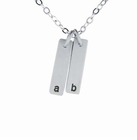 personalized double silver pendant necklace
