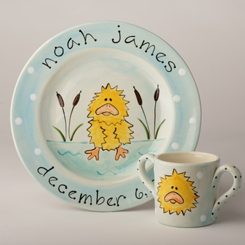 personalized duck baby plate
