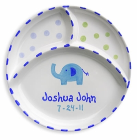 personalized elephant  3 section plate