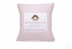 personalized embroidered baby monkey pillow