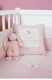personalized embroidered baby pillow - pink bunny