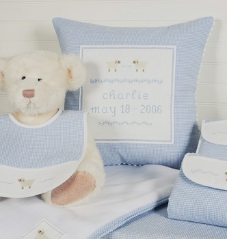 personalized embroidered baby pillow - sheep