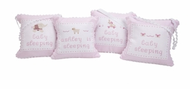 personalized embroidered hanging door pillow - pink