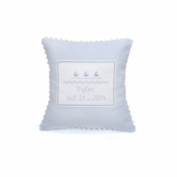 personalized embroidered sailboat pillow