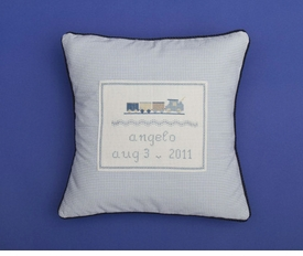 personalized embroidered train pillow