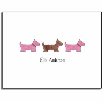 personalized everyday notes – preppy pups in pink