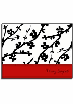 personalized everyday notes – red cherry blossom