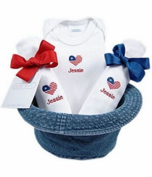 personalized flag baby gift set