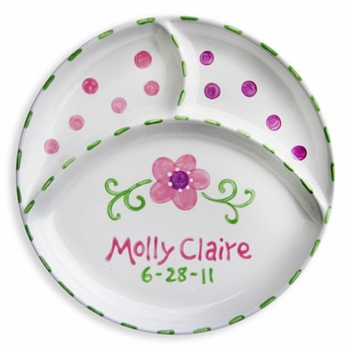 personalized flower divided plate