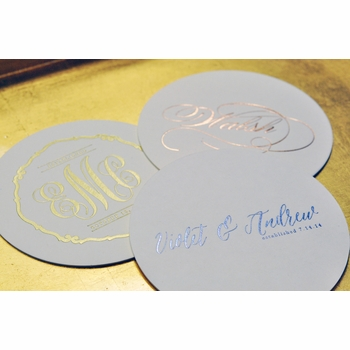 personalized foil stamped coasters m110 by haute papier