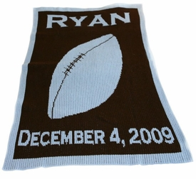 personalized football stroller blanket with name / birthdate