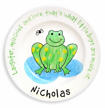 personalized frog baby plate
