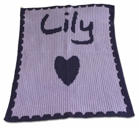personalized full blanket with name and heart and scalloped edge